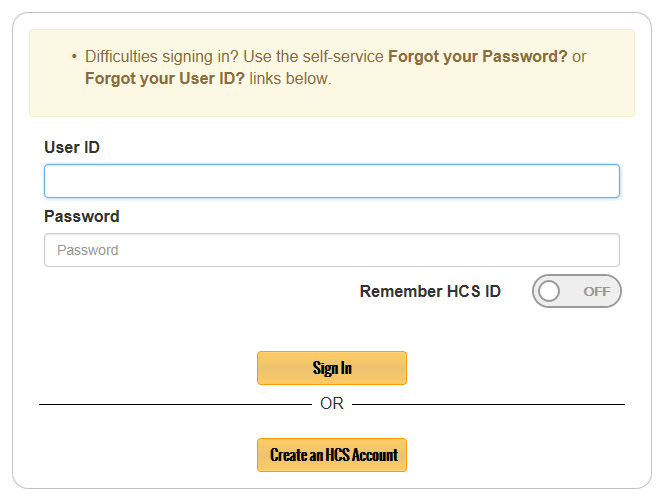 Sign-in to your Health Commerce System (HCS) account.