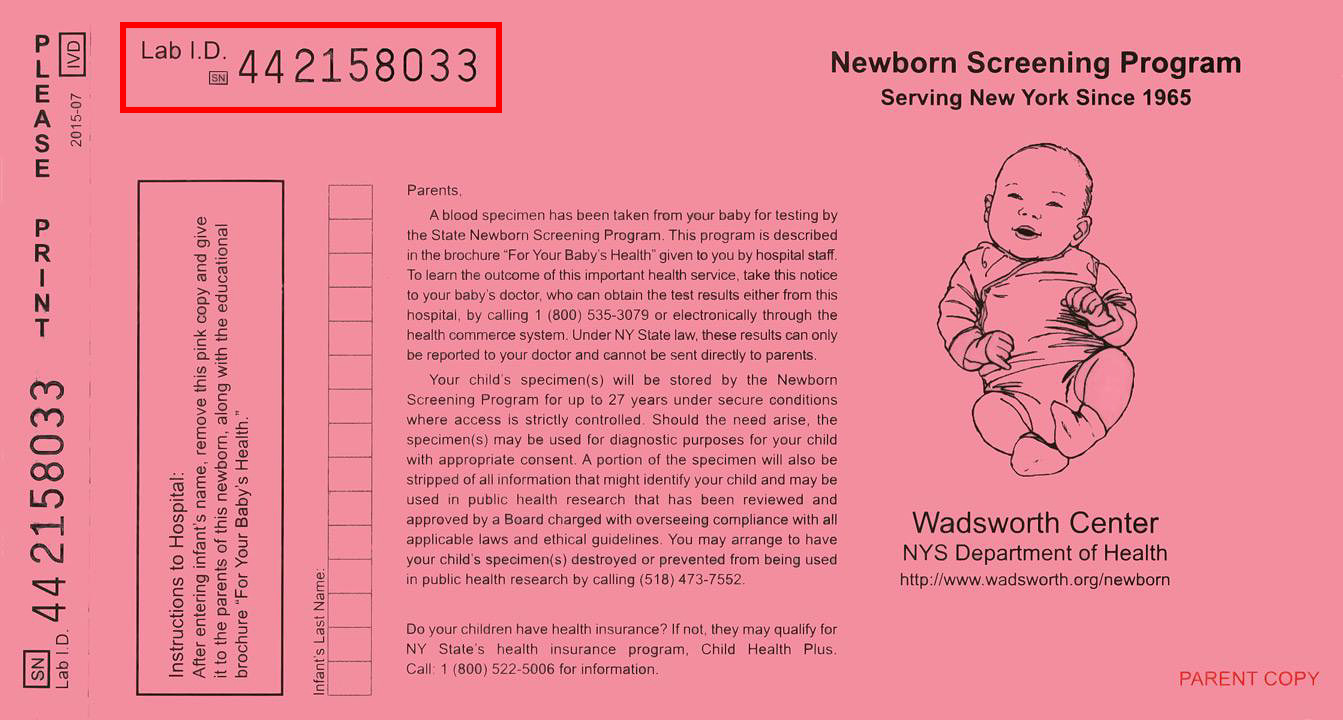 pink parent's copy of the newborn screening form